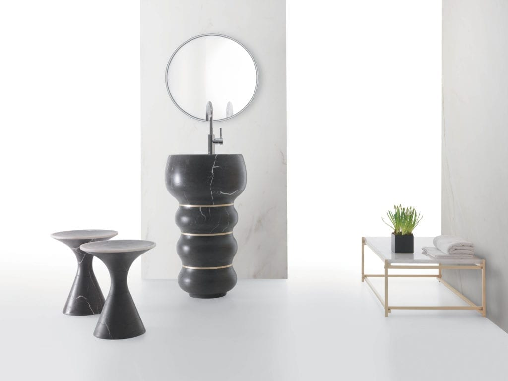 Kreoo Bubbles sink shown with Pedina Stool and Nodo Table