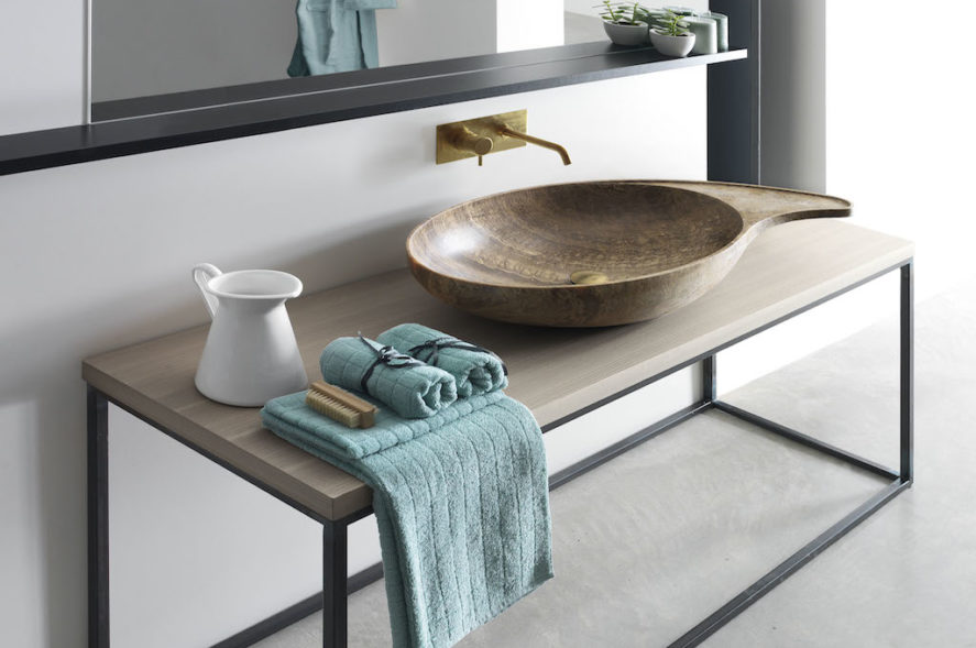 CASHMERE sink on Hashi vanity table with Wood Top