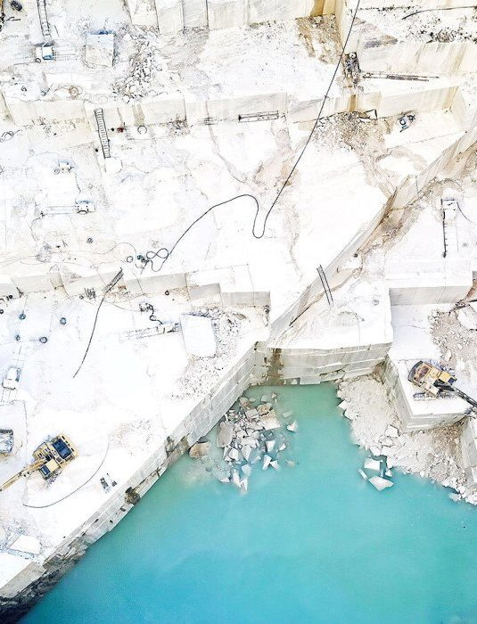 Aerial view of an Italian white marble quarry