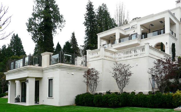 Outdoor white marble facade on a luxury home