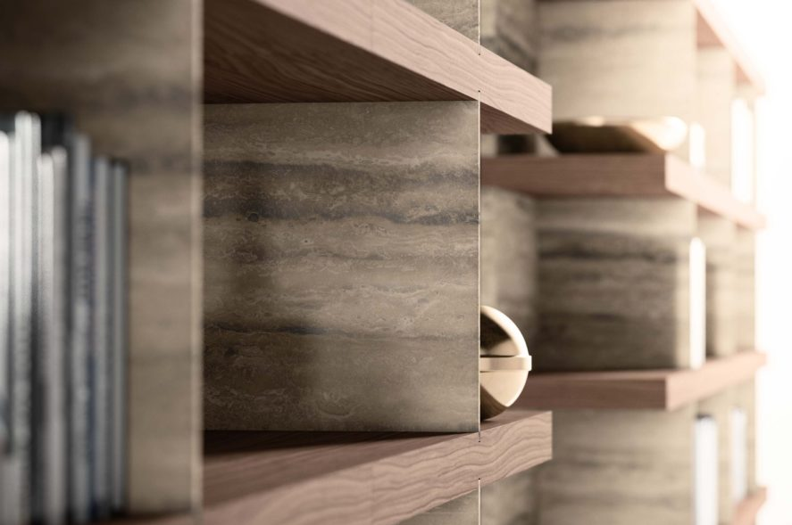 A luxury bookshelf built with natural stone tiles