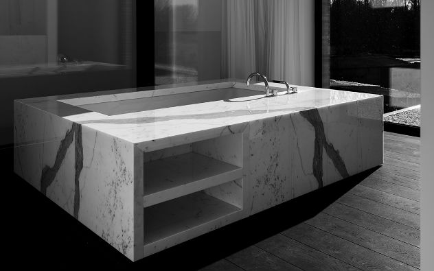 Beautiful monolithic stone bathtub