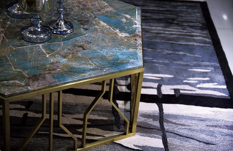 Luxury table made with blue Amazonite quartzite.