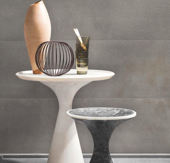 Kreoo end tables with pottery and decor