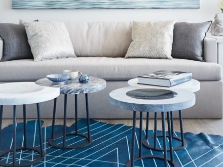 Marble moon table set installed in living room