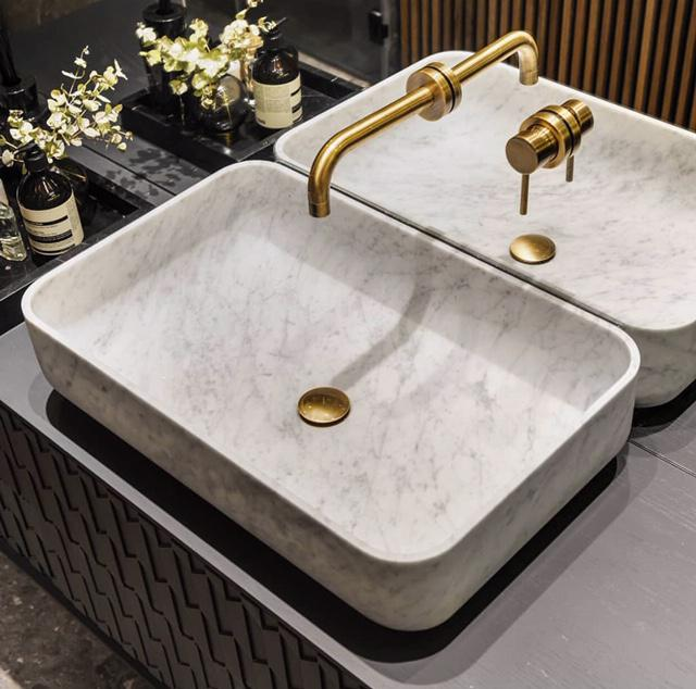 Luxury marble sink with custom gold fixtures