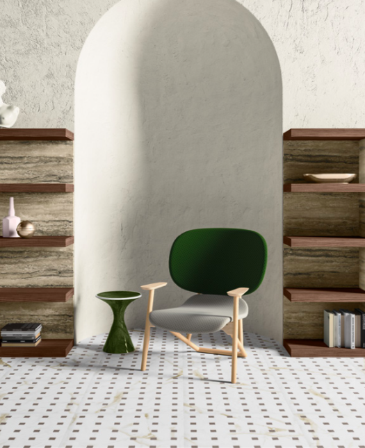 Pedina end table in green stone blends in with this luxury Italian study decor.