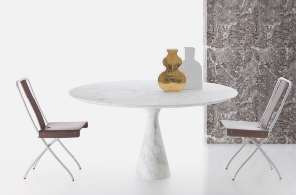 White marble Torre table with minimalist gold decor