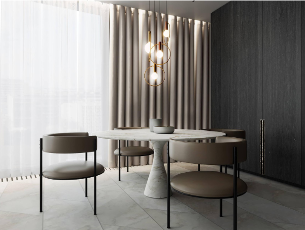 This Torre table in white marble makes a stunning dining table.