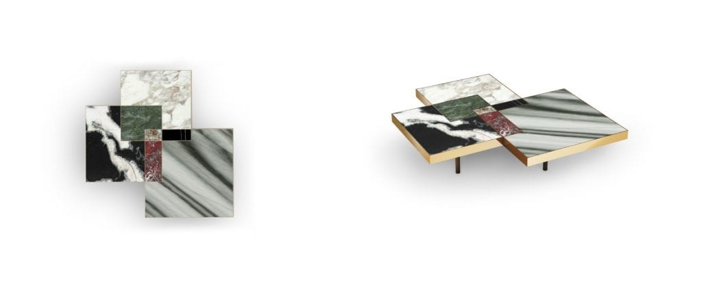Stark contrasts in natural stone colors in this square John table