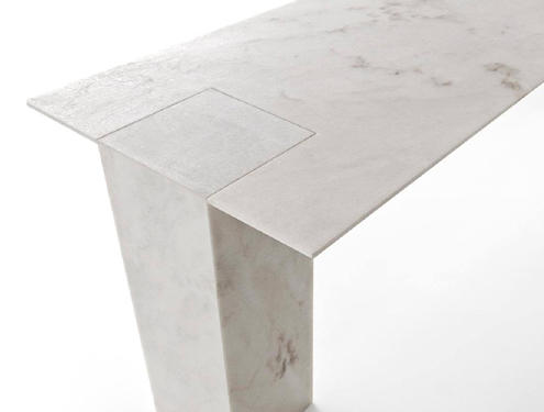 A table made of durable marble slabs