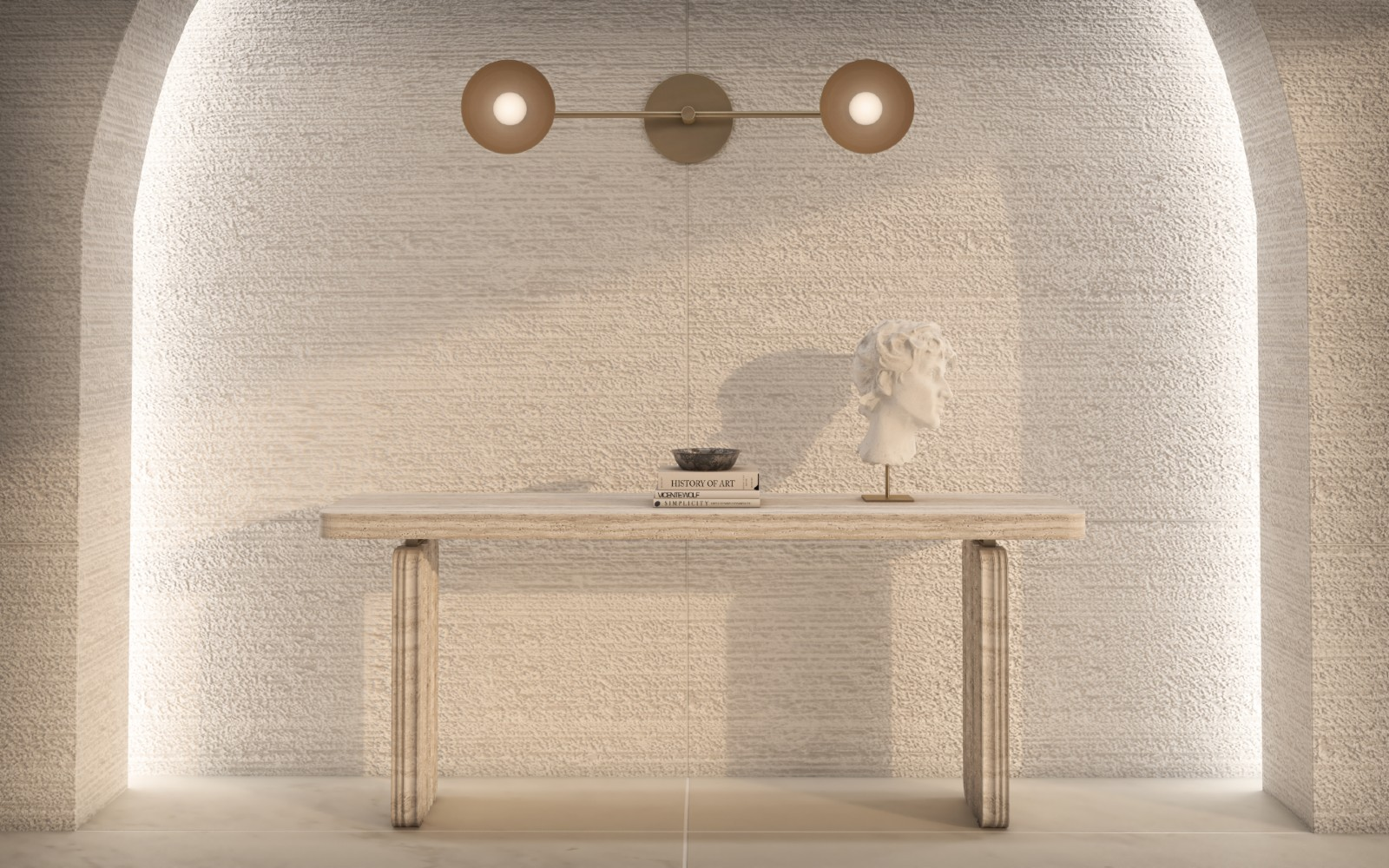 Purity console table in Italian tarvertine