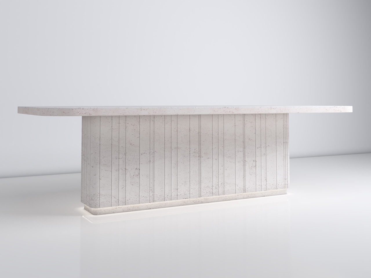 Pure extendable dining table in light travertine