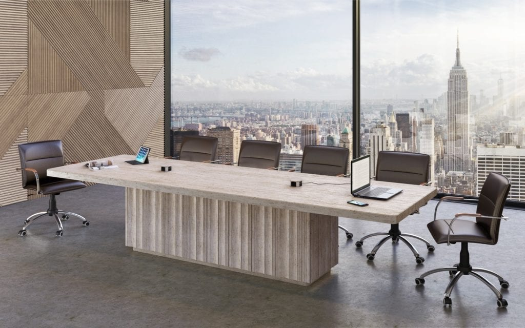 Beige travertine conference table in a luxury office