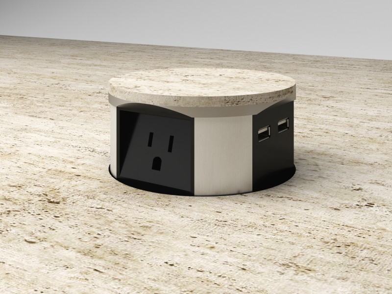 Pop-up USB charge station in the center of the conference table